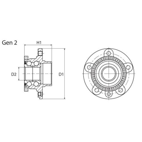 Rulment butuc roata Moog VOWB11022, parte montare : Punte fata, Stanga/ Dreapta