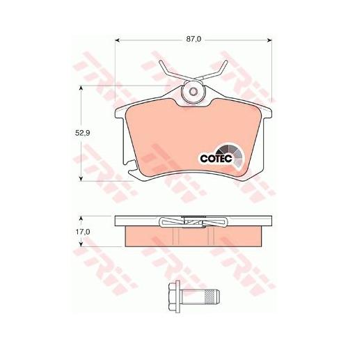 Set placute frana Trw GDB1578, parte montare : Punte spate