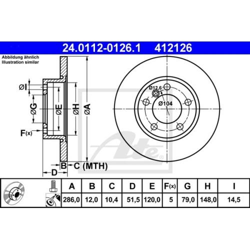 Disc frana Ate 24011201261, parte montare : Punte fata