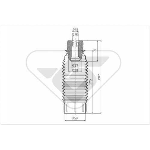 Set burduf protectie amortizor Hutchinson KP019, parte montare : Punte fata, Stanga/ Dreapta