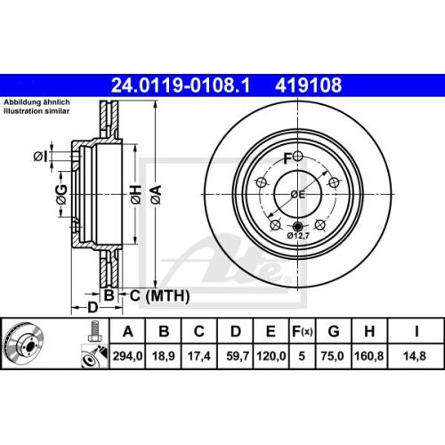 Disc frana Ate 24011901081, parte montare : Punte spate