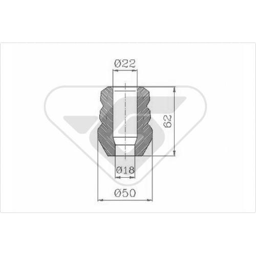 Set burduf protectie amortizor Hutchinson KP027, parte montare : Punte fata, Stanga/ Dreapta