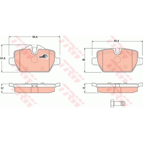 Set placute frana Trw GDB1612, parte montare : Punte spate