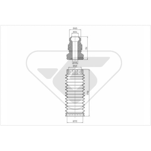 Set burduf protectie amortizor Hutchinson KP028, parte montare : Punte fata, Stanga/ Dreapta