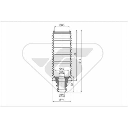 Set burduf protectie amortizor Hutchinson KP038, parte montare : Punte fata, Stanga/ Dreapta