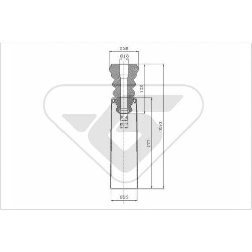 Set burduf protectie amortizor Hutchinson KP043, parte montare : Punte spate, Stanga/ Dreapta