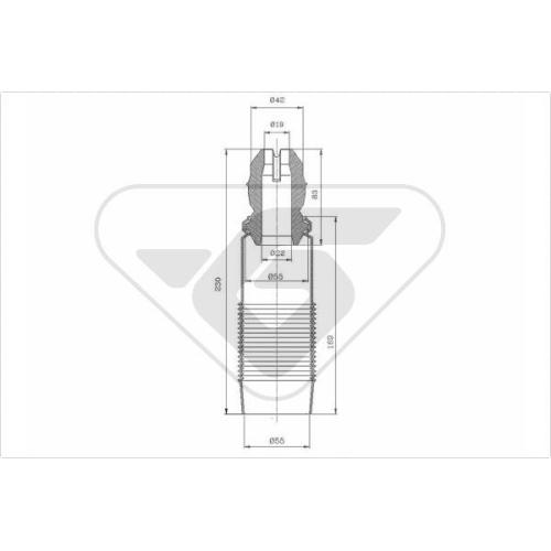 Set burduf protectie amortizor Hutchinson KP051, parte montare : Punte fata, Stanga/ Dreapta