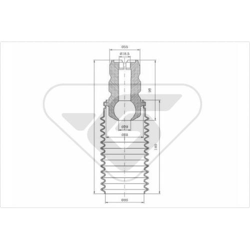 Set burduf protectie amortizor Hutchinson KP054, parte montare : Punte fata, Stanga/ Dreapta