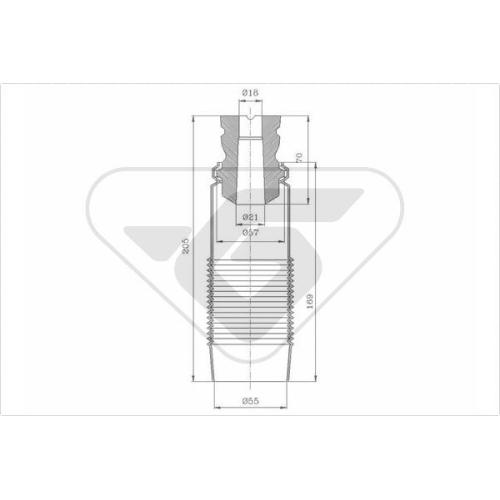 Set burduf protectie amortizor Hutchinson KP065, parte montare : Punte fata, Stanga/ Dreapta