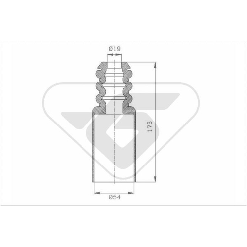 Set burduf protectie amortizor Hutchinson KP085, parte montare : Punte fata, Stanga/ Dreapta