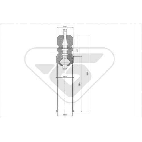 Set burduf protectie amortizor Hutchinson KP103, parte montare : Punte spate, Stanga/ Dreapta