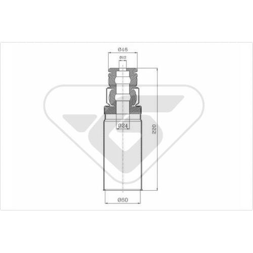 Set burduf protectie amortizor Hutchinson KP107, parte montare : Punte spate, Stanga/ Dreapta