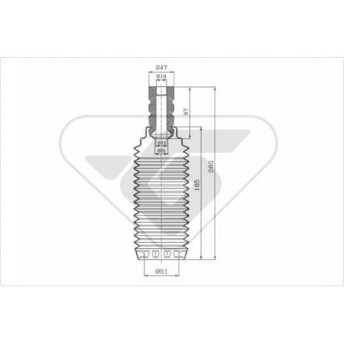 Set burduf protectie amortizor Hutchinson KP111, parte montare : Punte fata, Stanga/ Dreapta
