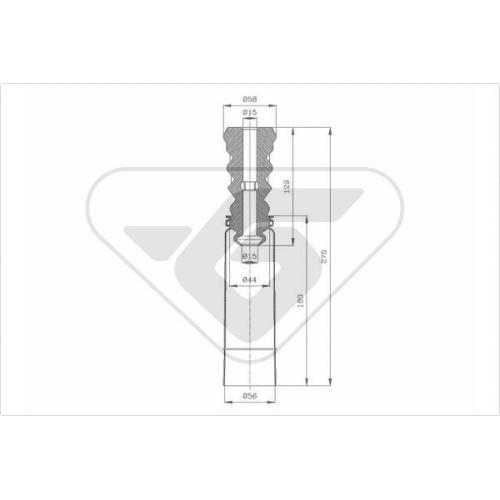 Set burduf protectie amortizor Hutchinson KP092, parte montare : Punte spate, Stanga/ Dreapta