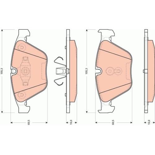 Set placute frana Trw GDB1729, parte montare : Punte fata