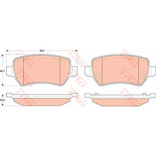 Set placute frana Trw GDB1831, parte montare : Punte spate