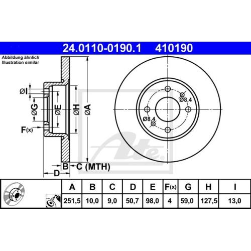 Disc frana Ate 24011001901, parte montare : Punte spate