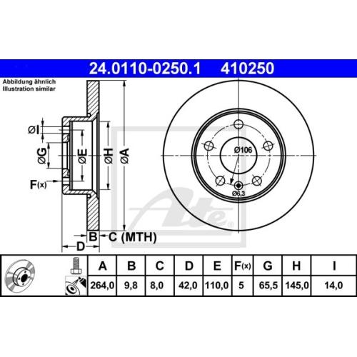 Disc frana Ate 24011002501, parte montare : Punte spate