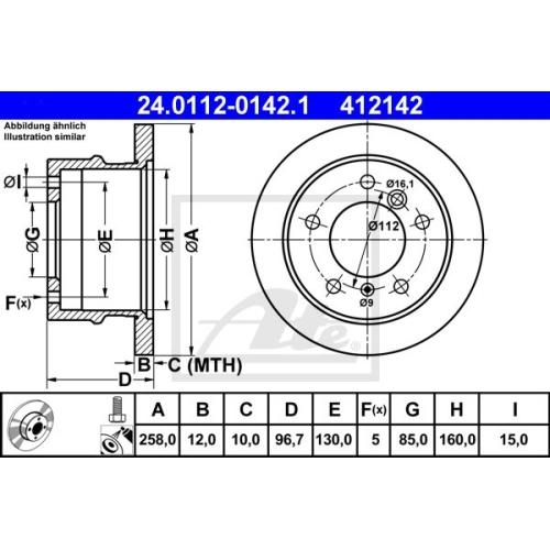 Disc frana Ate 24011201421, parte montare : Punte spate