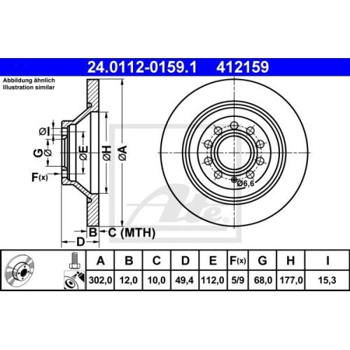 Disc frana Ate 24011201591, parte montare : Punte spate