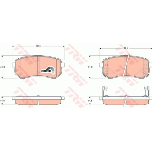 Set placute frana Trw GDB3370, parte montare : Punte spate