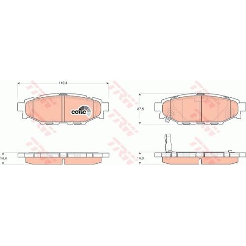 Set placute frana Trw GDB3373, parte montare : Punte spate