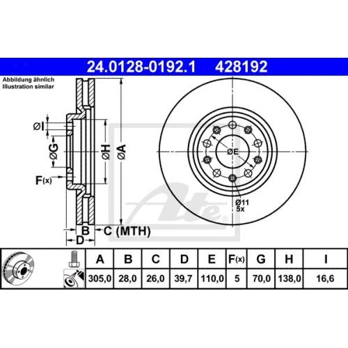 Disc frana Ate 24012801921, parte montare : punte fata