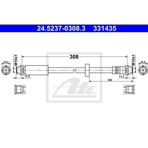 Furtun frana Audi A4 (8e2, B6), A4 (8ec, B7); Seat Exeo (3r2) Ate 24523703083, parte montare : punte fata