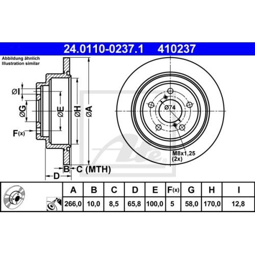 Disc frana Ate 24011002371, parte montare : punte spate