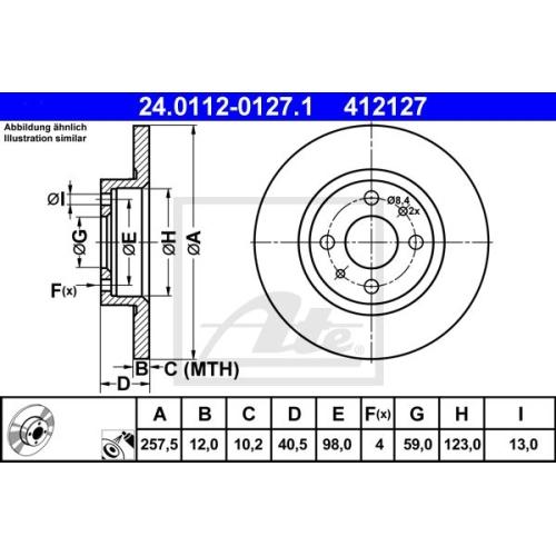 Disc frana Ate 24011201271, parte montare : punte fata