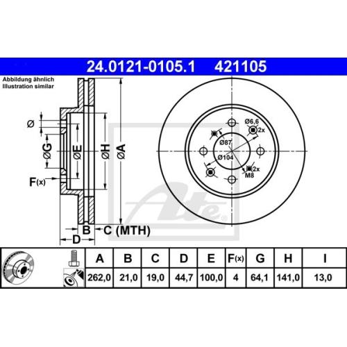 Disc frana Ate 24012101051, parte montare : punte fata