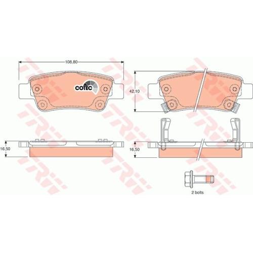 Set placute frana Trw GDB3446, parte montare : Punte spate