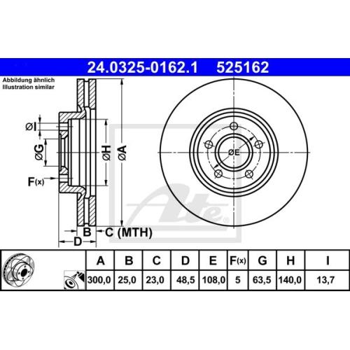 Disc frana Ate 24032501621, parte montare : punte fata