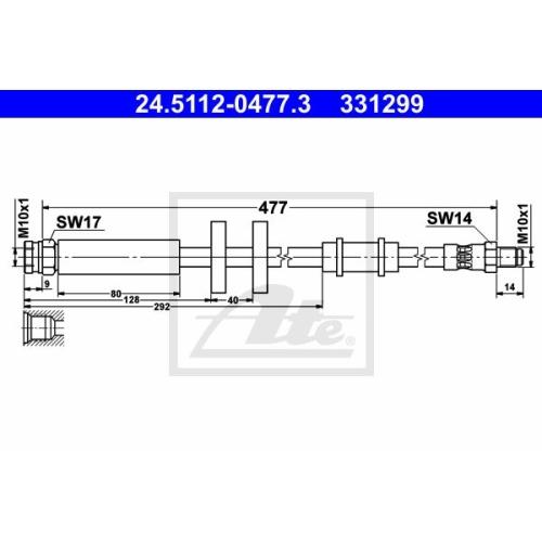 Furtun frana Citroen Jumper Bus (230p 244); Fiat Ducato (230 244); Peugeot Boxer Bus (230p 244) Ate 24511204773, parte montare : punte fata