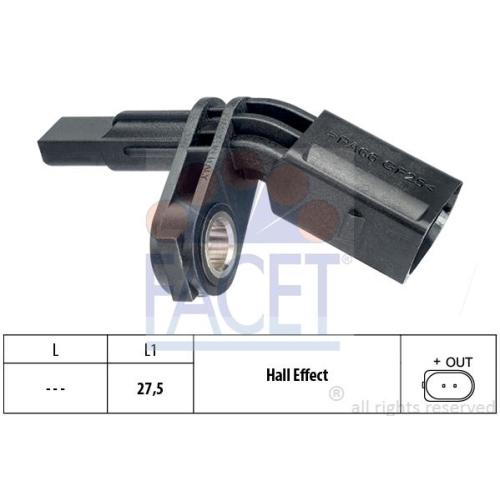 Senzor ABS Facet 210007, parte montare : punte fata, stanga