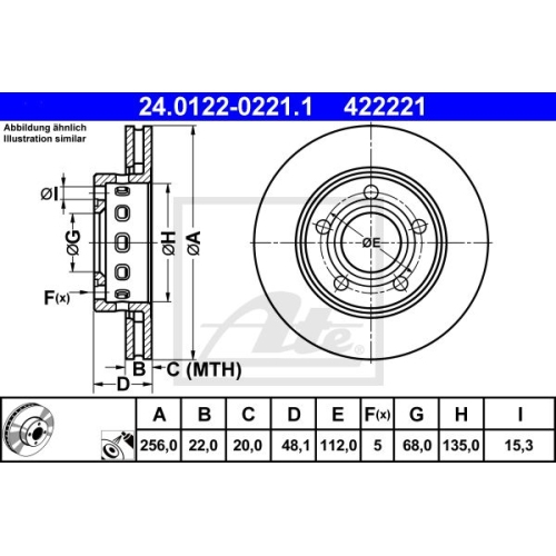 Disc frana Ate 24012202211, parte montare : punte spate
