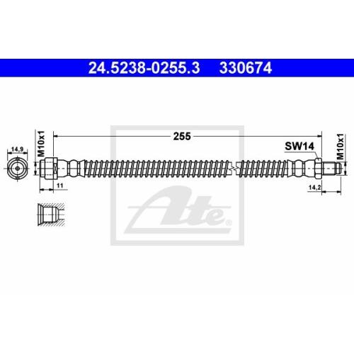 Furtun frana Mercedes-Benz Cls (C219), E-Class (W211), S-Class (W220), Sl (R230) Ate 24523802553, parte montare : punte spate
