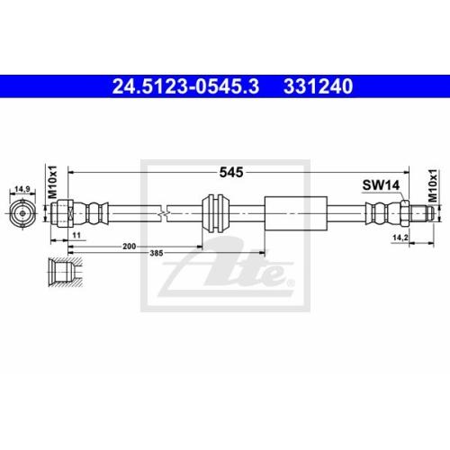 Furtun frana Mercedes-Benz Gl-Class (X164), M-Class (W164) Ate 24512305453, parte montare : punte fata