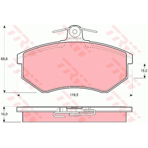 Set placute frana Trw GDB430, parte montare : Punte fata