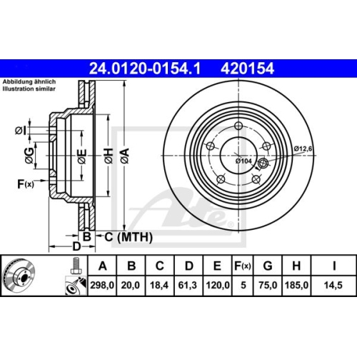 Disc frana Ate 24012001541, parte montare : punte spate