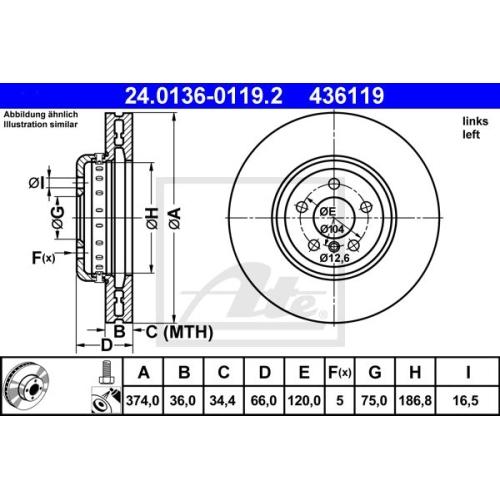 Disc frana Ate 24013601192, parte montare : punte fata, stanga