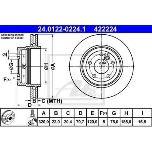Disc frana Ate 24012202241, parte montare : punte spate