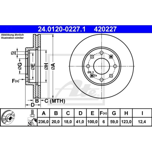 Disc frana Ate 24012002271, parte montare : punte fata