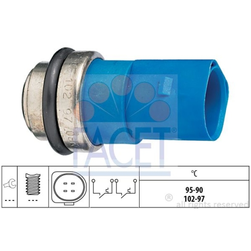 Senzor temperatura ventilator, termocupla radiator Audi A2 (8z0), A4 (8d2, B5), A4 (8e2, B6), A4 (8ec, B7), A6 (4b2, C5); Skoda Superb (3u4); Vw Passat (3b2/3b3) Facet 75692