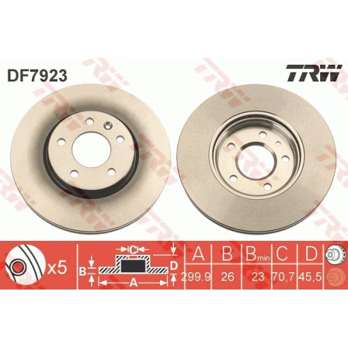 Disc frana Trw DF7923, parte montare : punte fata