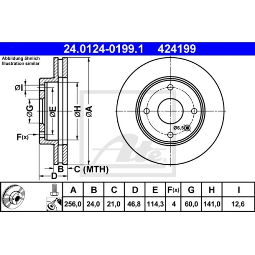 Disc frana Ate 24012401991, parte montare : punte fata