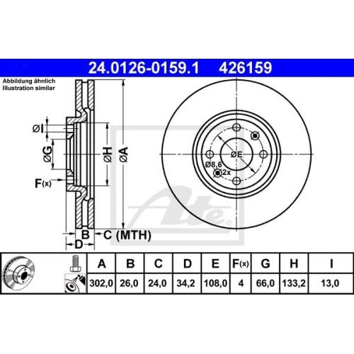 Disc frana Ate 24012601591, parte montare : punte fata