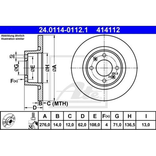 Disc frana Ate 24011401121, parte montare : punte spate