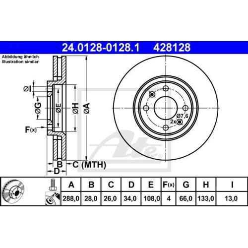 Disc frana Ate 24012801281, parte montare : punte fata
