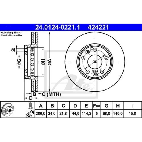Disc frana Ate 24012402211, parte montare : punte fata